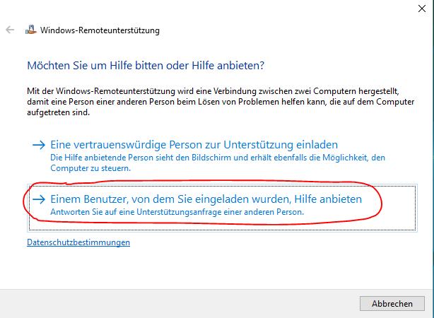Windows Remoteunterstützung