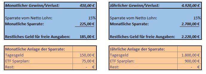 Auswertund der monatlichen Kosten und gewinne