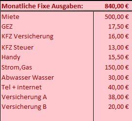Excel info der monatlichen kosten