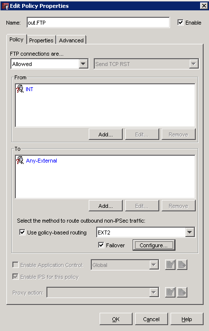 watchguard firewall policy based routing setup