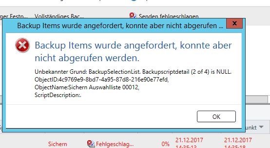 Backup Exec Fehler Backupscriptdetail is Null
