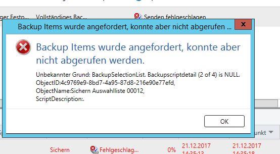Backup Exec Fehler Backupscriptdetail is Null