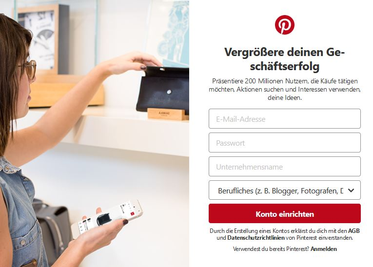 Pinterest anmeldung als Business Account für neue Funktionen.