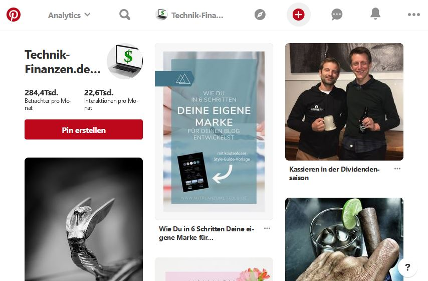 Pinterest Business Login übersicht mit Analytics Auswertungen