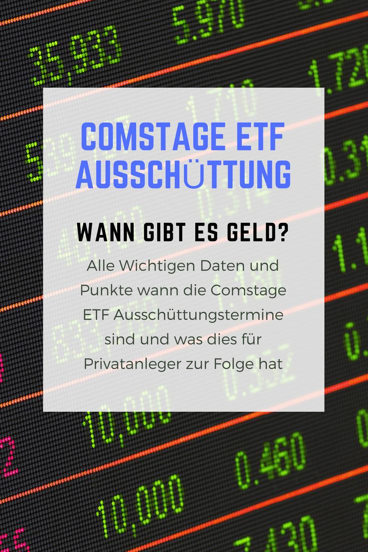 Wann sind die Ausschüttungstermine der Comstage ETFs und wo geht das Geld hin?