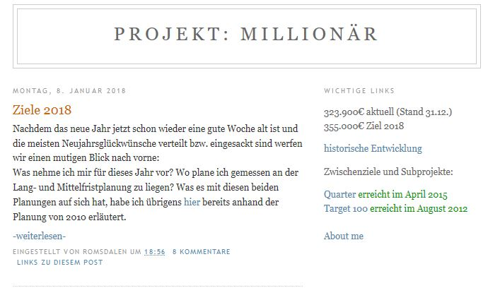 Website des Projekt Millionär Blogs