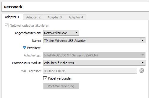 VirtualBox Debian 9 Network Settings