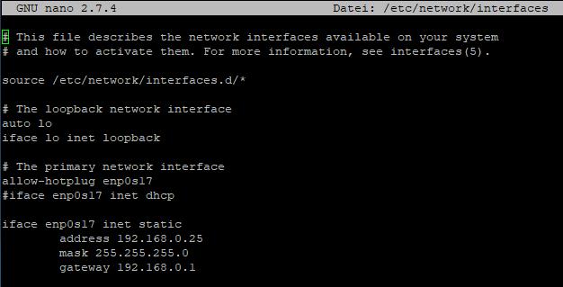 Debian 9 IP Settings für Netzwerk Interfaces in VirtualBox