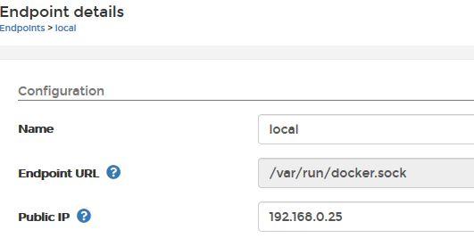 Portainer.io Endpoint Einrichtung für Webzugriffe.