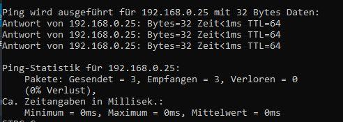 Ping test zu Docker VM