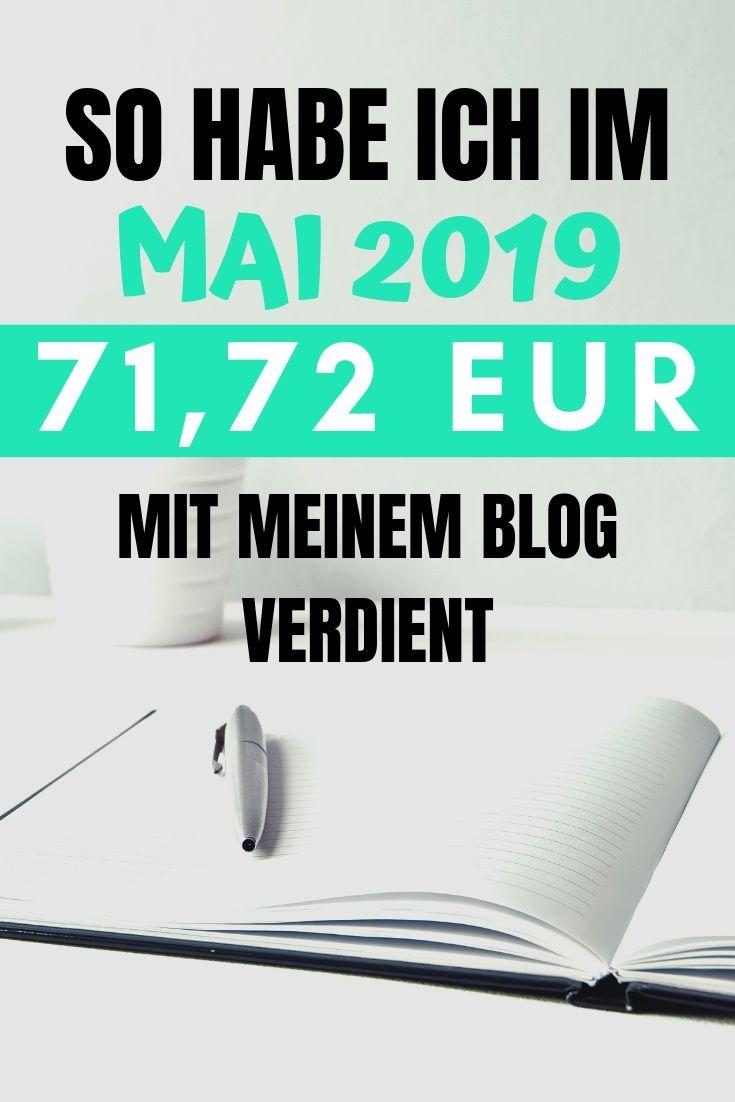 So habe ich im Mai 2019 71,72 EUR mit meinem Blog verdient