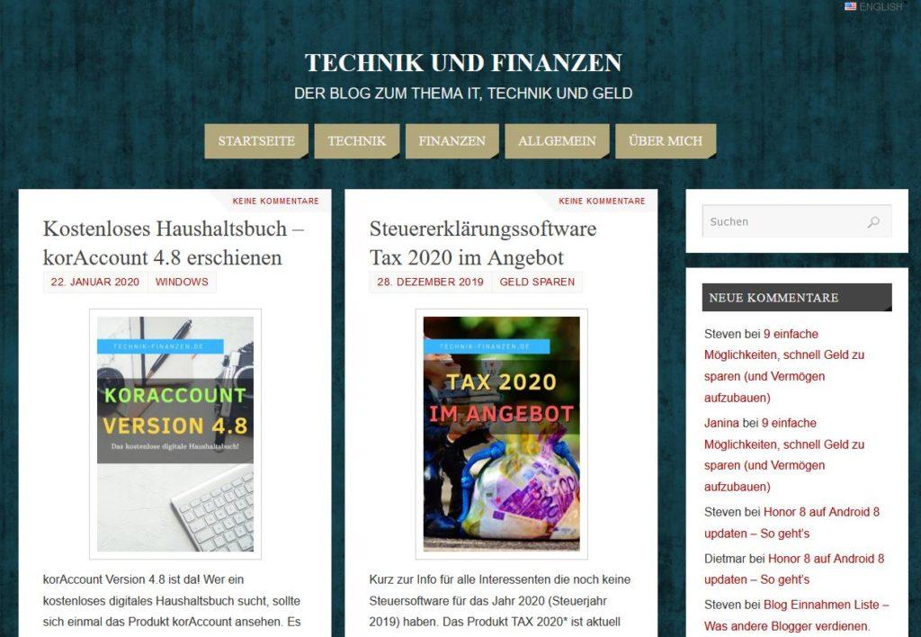 Altes Design des Technik und Finanzen Blog vor dem Redesign