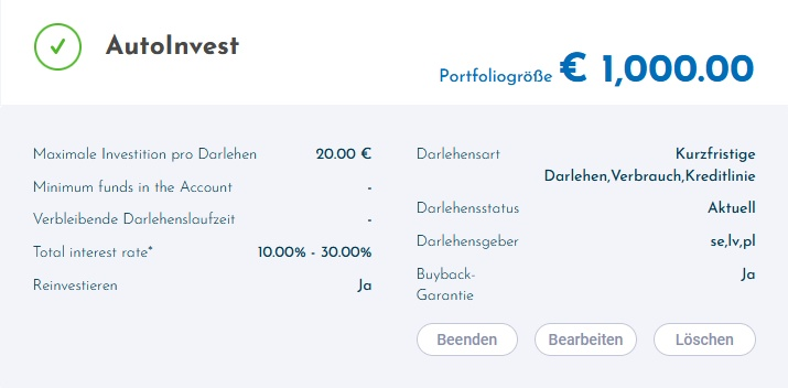 My ViaInvest Autoinvest Settings April 2021